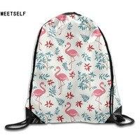 3D Print Cartoon Flamingo Pattern Shoulders Bag Women Fabric Backpack Girls Beam Port Drawstring Travel Shoes