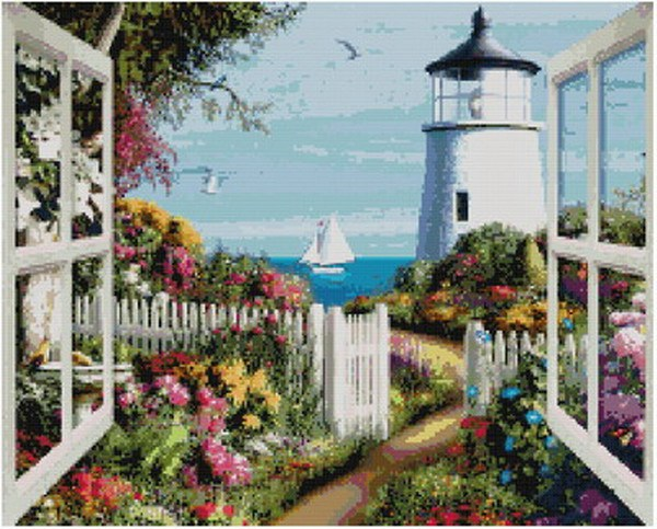 Free Delivery Top Quality Popular Counted Cross Stitch Kit Window To Sea Boat Beacon Lighthouse