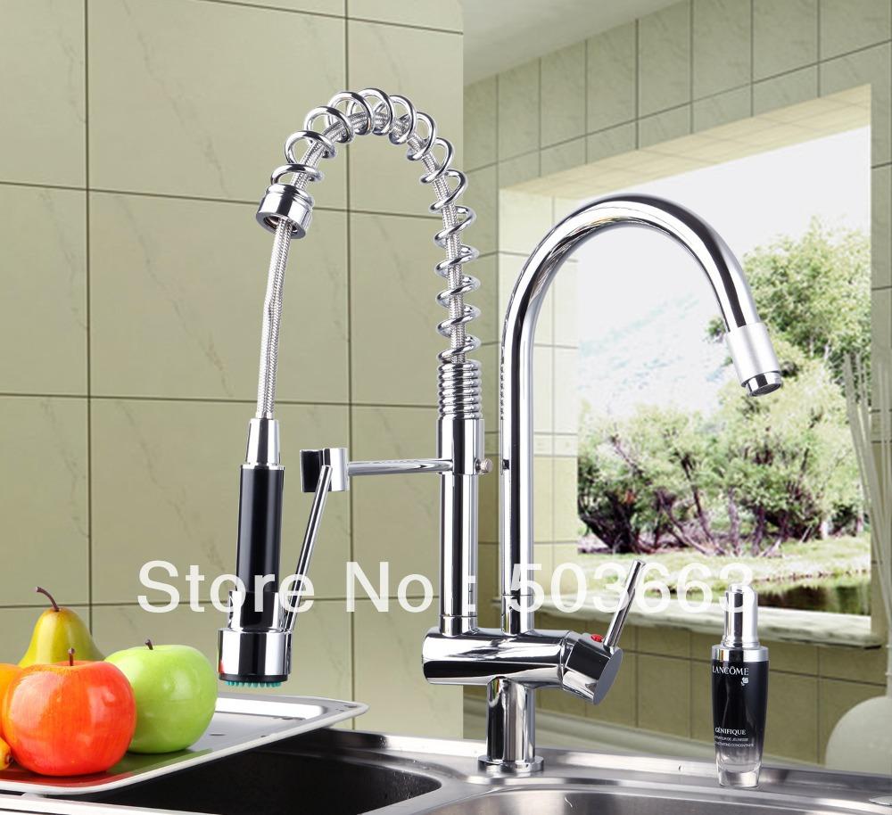 Deck Mount Spray Stream Double Handles Chrome Brass Water Kitchen Faucet Swivel Spout Pull Out Vessel Sink Mixer Tap MF-278 brass kitchen faucet swivel spout chrome kitchen sink mixer tap pull out spray swivel spout vessel faucet deck mounted