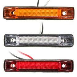 6 светодиодных габаритных фонарей для автомобилей и грузовиков, белый, желтый, красный цвет