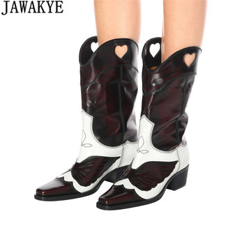 JAWAKYE design genuine leather knee high boots for women embroidery butterfly Motorcycle Boots pointed toe cool ankle boots