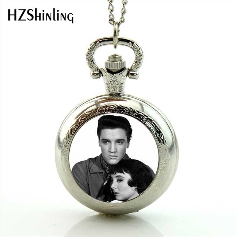2017 New Arrival Elvis Presley Pendant Pocket Watch Necklace Rock Singer Jewelry Glass Dome Necklaces Vintage Pocket Watch
