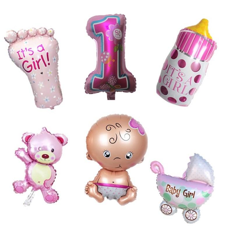 qgqygavj hot sale 5pcs angel baby shower balloons baby boy girl birthday party decorations mini bear baby foot bottle balloon