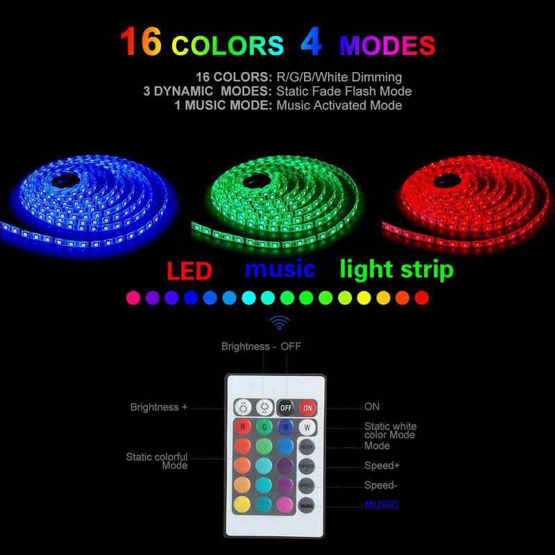 5m Fashion Party Decor Music Sensor LED Light Strip SMD 5050 RGB Waterproof Led Light Tape With Remote Music Controller