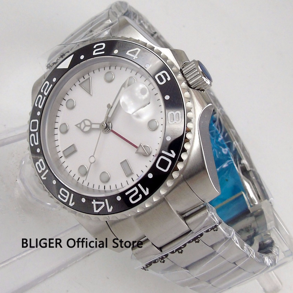 Sapphire Glass BLIGER 40mm White Sterile Face Mens Watch Ceramic Bezel Date Display Luminous GMT MINGZHU Automatic MovementSapphire Glass BLIGER 40mm White Sterile Face Mens Watch Ceramic Bezel Date Display Luminous GMT MINGZHU Automatic Movement