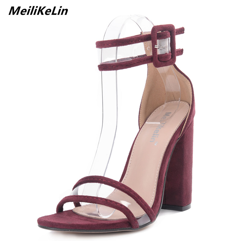c50076877b9e MeiLiKeLin 2018 Summer Shoes Women Sandals Wide Band Square Heel Open Toed Sandals  Ladies High Heeled Dress Sandals Block Pumps -in High Heels from Shoes on  ...