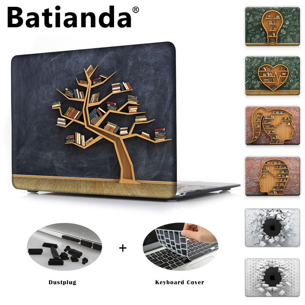 Batianda Crystal Printed Books in of Tree Case Cover for MacBook new Pro 13 15 Retina Air 13 12 11 inch Hard Sleeve color block splicing design turn down collar long sleeve shirt for men