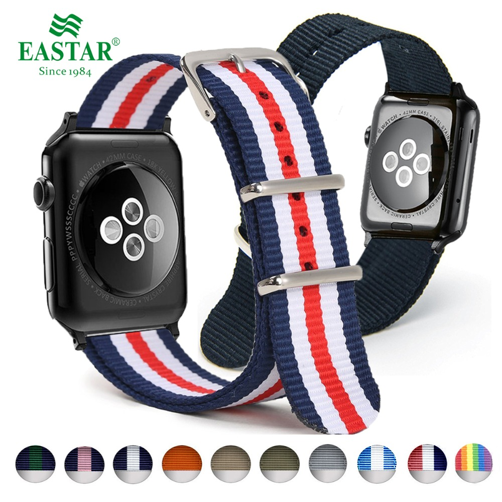 Eastar Woven Nylon Band Watchband For Apple Watch 3 42mm 38mm fabric-like strap iwatch 3/2/1 wrist band nylon watchband belt 24mm nylon watchband for suunto traverse watch band zulu strap fabric wrist belt bracelet black blue brown tool spring bars
