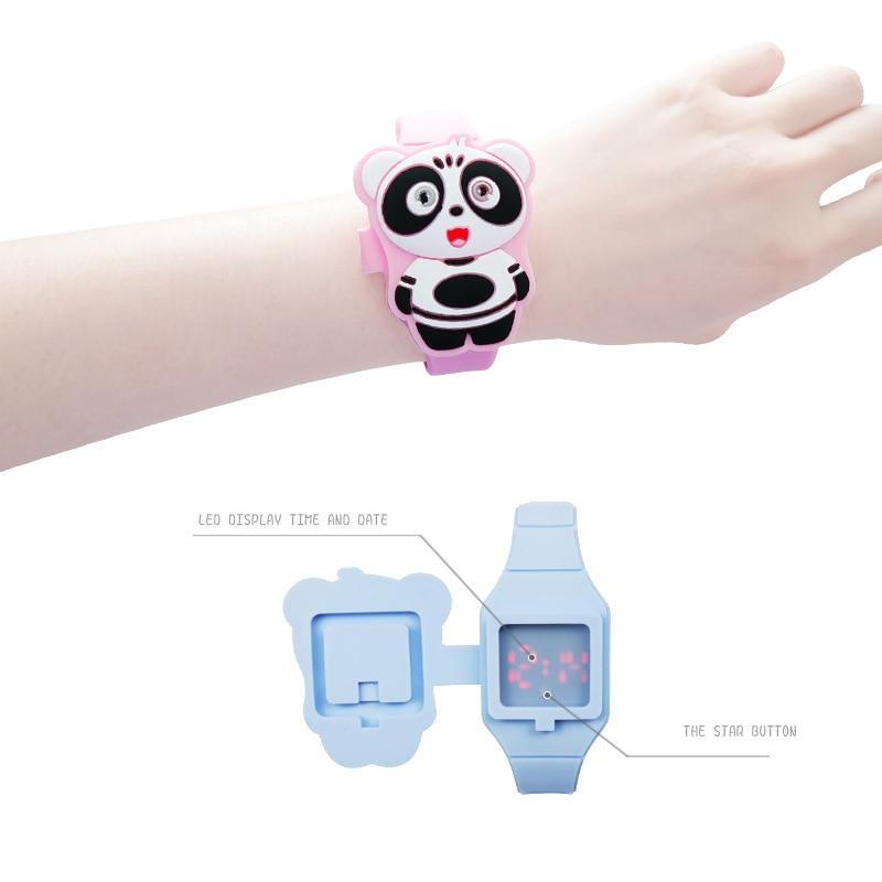Reloj Infantil Flip Cover 3D Bear Cartoon Digital Kids Watches Electronic Child Watch Rubber For Boy Girl Student Children Clock
