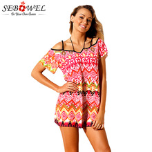 4a40ca12ee51b SEBOWEL New 2018 Sexy Tribal Print Beach Dresses Women Summer Swimwear  Cover Up Short Sleeves Beach