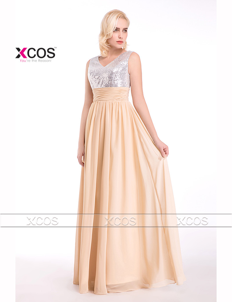 Bling champagne sequin bridesmaid dresses long chiffon cheap robe bling champagne sequin bridesmaid dresses long chiffon cheap robe demoiselle dhonneur pleated 2016 wedding guest dress sa263 in bridesmaid dresses from ombrellifo Images
