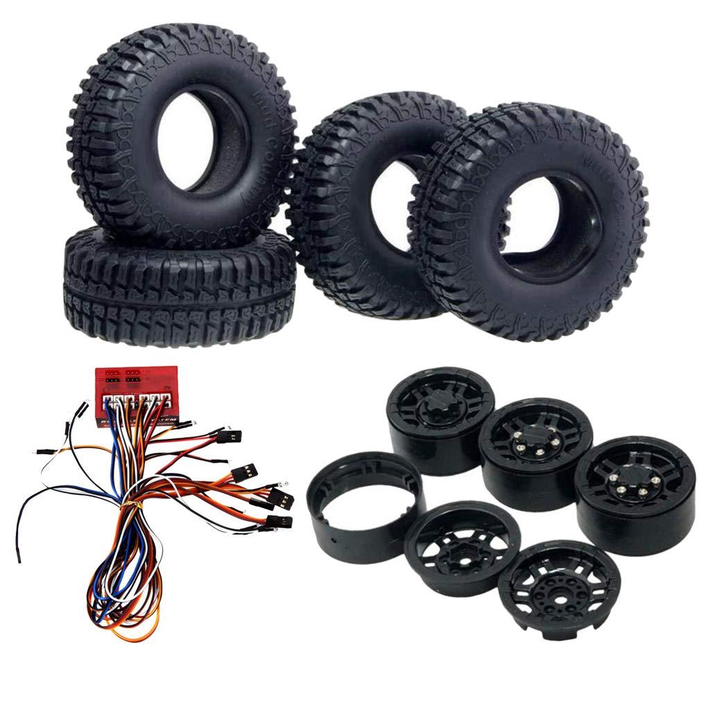 1/10 RC voiture 12 lampe à LED + jante de roue + pneus en caoutchouc pièces de rechange de chenille de roche accessoires matériel pour Axial SCX10 CC01 D90