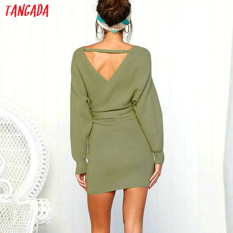 Tangada women dress 19 knitted mini dress autumn winter ladies sexy green sweater dress long sleeve vintage korean ADY08 17