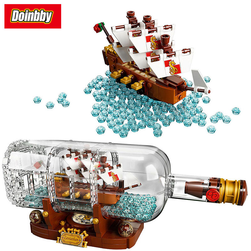 16051 Creative Ideas Pirates of the Caribbean Ship in a Bottle Building Block Bricks Toys Kids Gifts Compatible 21313 new lepin 16009 1151pcs queen anne s revenge pirates of the caribbean building blocks set compatible legoed with 4195 children
