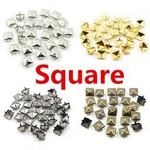 6-12 мм круглые квадратные Шипы Заклепки для одежды четыре когти металлические шпильки и шипы для одежды 100 шт./лот
