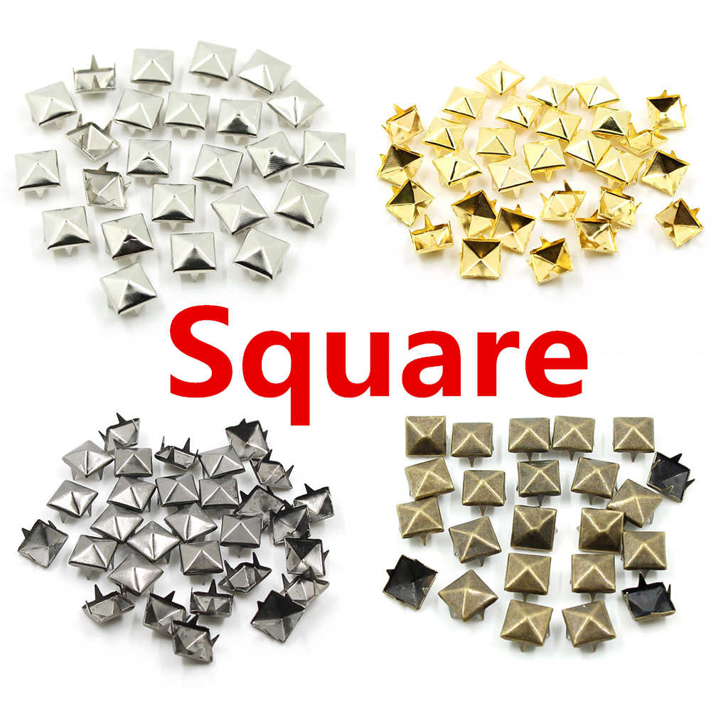 6-12MM Round Square Spikes Garment Rivets for Clothing Four claw metal studs and Spikes for clothies 100pcs/lot