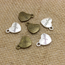 Heart-Engraving Charm Jewelry Findings Letters Antique 30pieces/Lot Alloy T0291 T0291