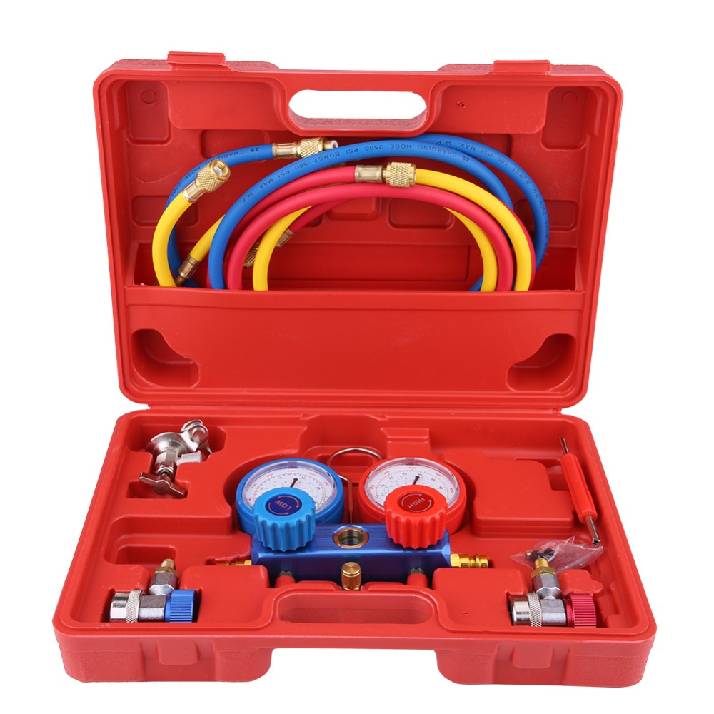 Oversea R134a Air Conditioner A C Manifold Gauge Set with 5ft Charging Hose Tool Refrigeration Air
