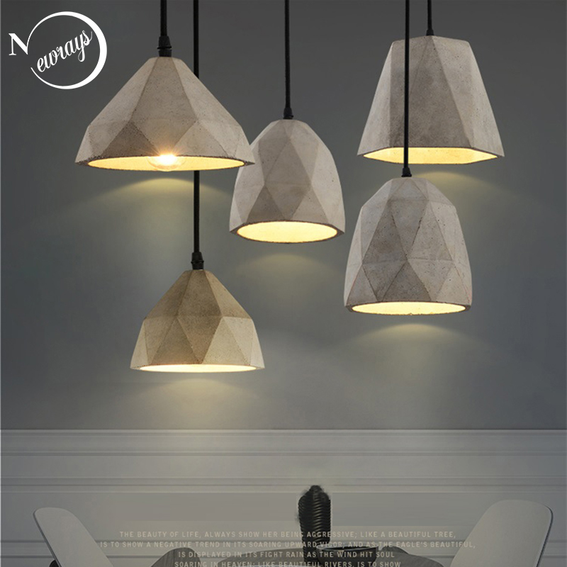 Vintage concrete art deco pendant light E27 LED industrial hanging lamp cement with 5 styles for bedroom kitchen restaurant bar vintage colorful minimalist cement hanging pendant lamp 220v e27 led light with switch lighting fixture for hallway bar bedroom
