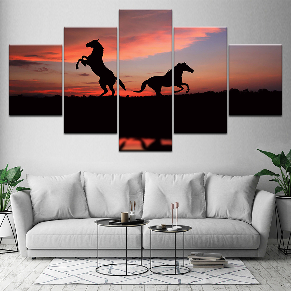 Two running horse with sunset 5 Piece HD Wallpapers Art Canvas Print modern Poster Modular art painting for Living Room Decor