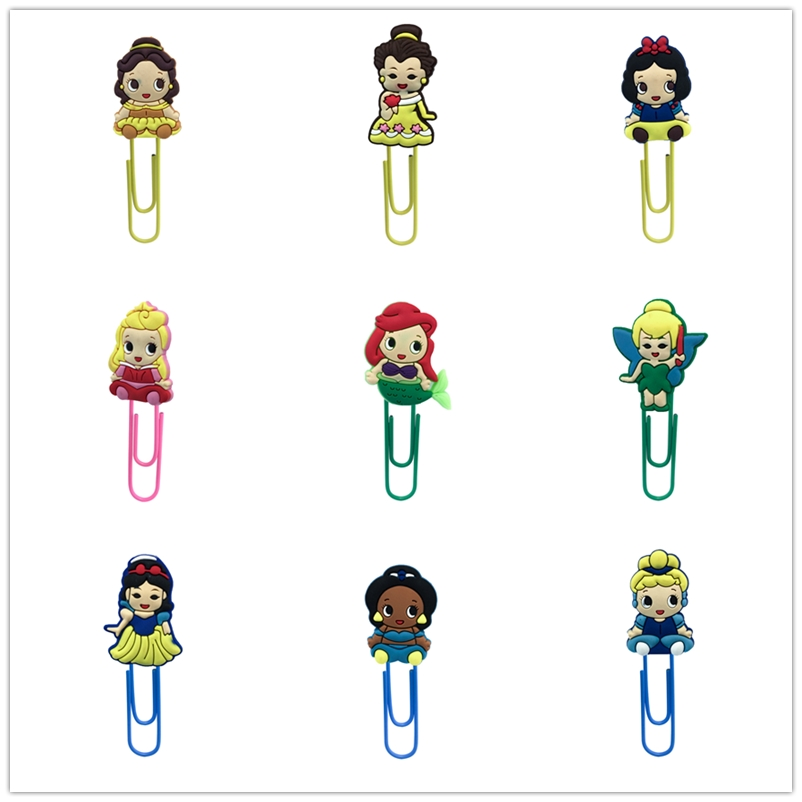 18Pcs Cute Girl Creative PVC Souvenir Book Accessories Paper Clip Bookmark Decoration Stationery Item Teacher Gift Present