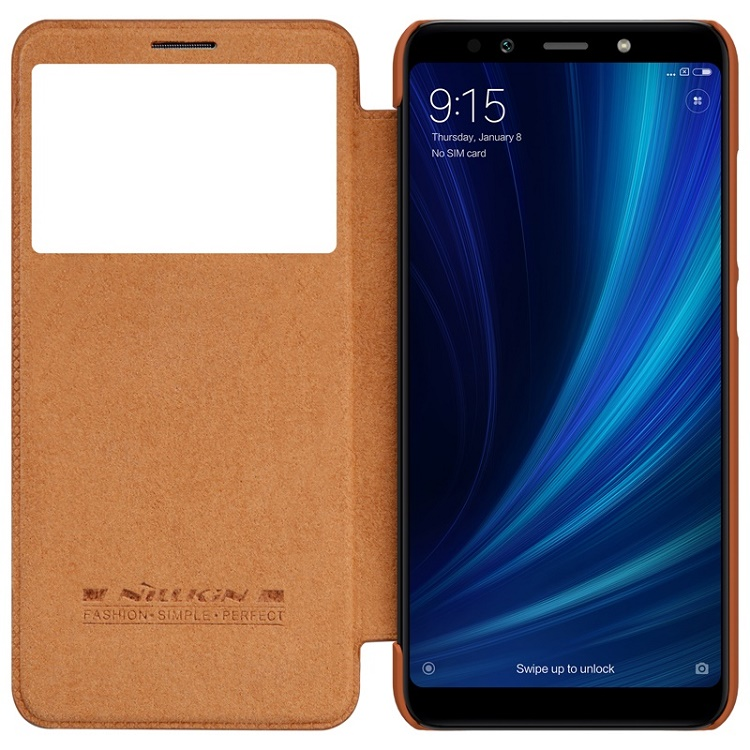 for xiaomi mi5 mi5s mi6x Case Nillkin QIN Series Flip Cover Case Leather Smart Window Sleep Function Case For xiaomi mi 5s mi 6x