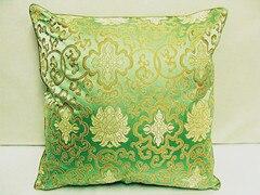 Винтажная квадратная большая подушка для дивана, стула, автомобиля, Высококачественная декоративная шелковая парчовая Подушка для спины 40x40 43x43 40x50 50x50 60x60 см - Цвет: Зеленый