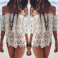 Summer Women Sexy Tops Blusas Casual Off Shoulder Blouse Slash neck Lace Crochet Floral Blouse Boho Beach Loose Solid Shirts Y1