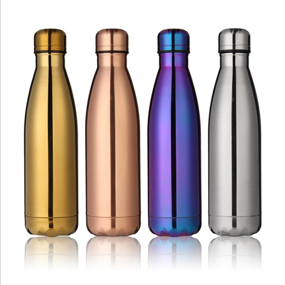 Fashion metal plating mirror 500ml coke bottle keep warm stainless steel kettle series vacuum cup movement