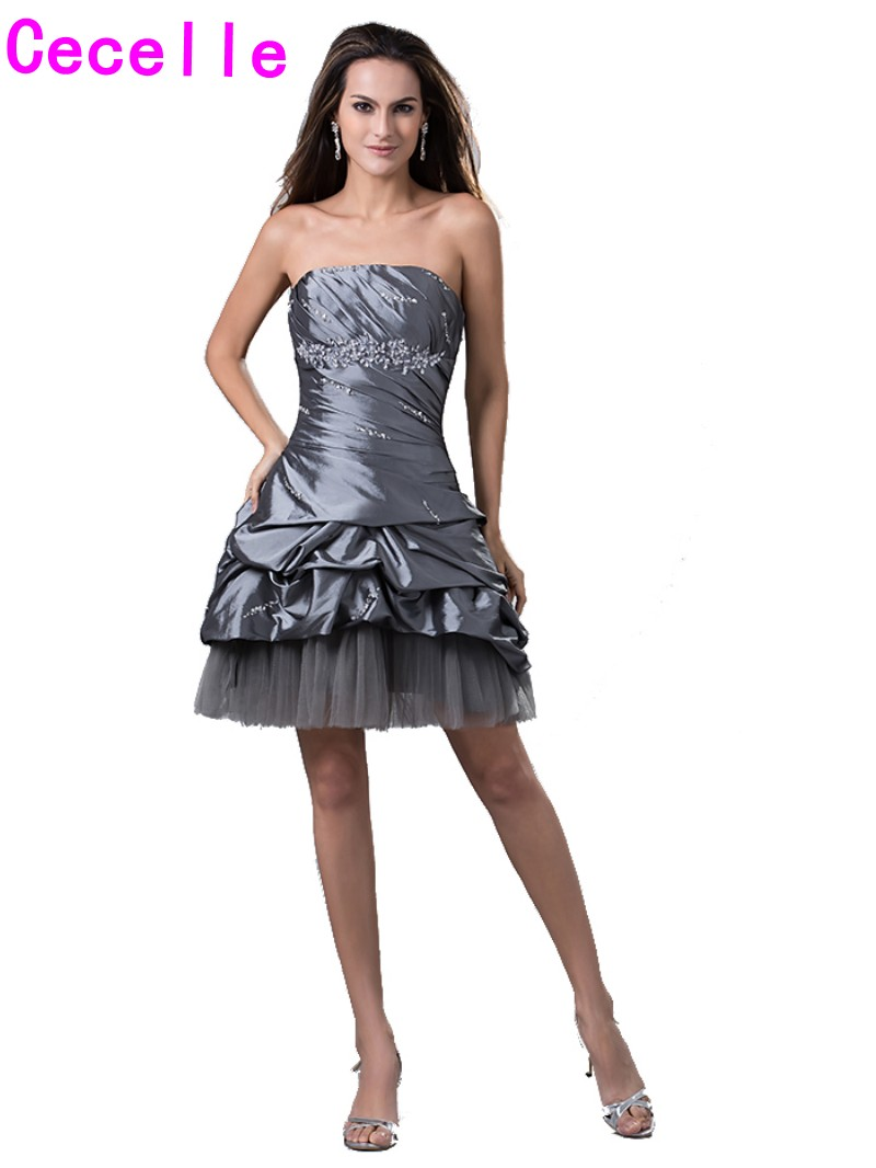 Classic Short A line Grey Homecoming Dresses 2017 Cheap Strapless ...