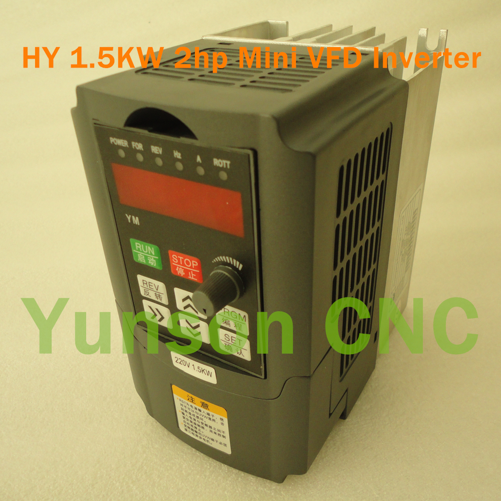 1 5KW 1500W 2hp HuanYang Mini Size 400Hz variable frequency drive VFD inverter for spindle motor