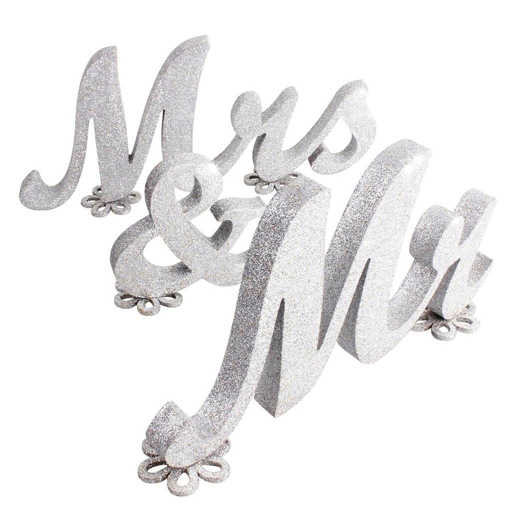Mr & Mrs деревянный знак свадебные украшения стола деревянные буквы цветок декор базы с золотым блеском/серебряный блеск