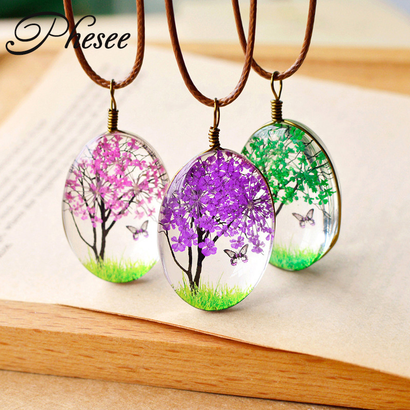 Phesee Fashion 5 Color Fresh Natural Dried Flower Necklace Tree Flower Butterfly Jewelry Statement Necklace for