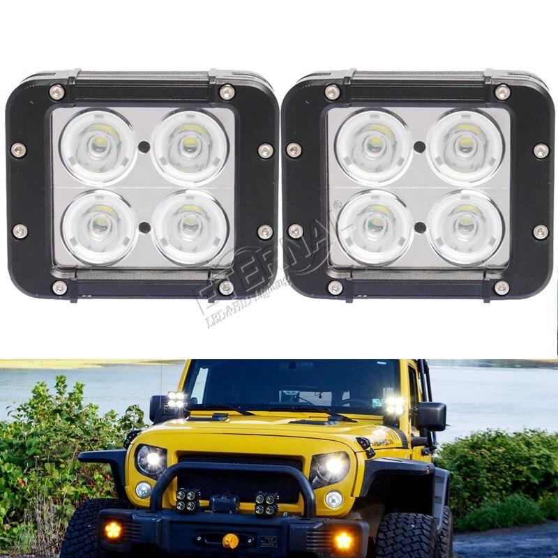2pcs 4.6 40W dual row led light bar high power offroad 4x4 mini size spot flood fog lamp motorcycle ATV UTV driving work light.