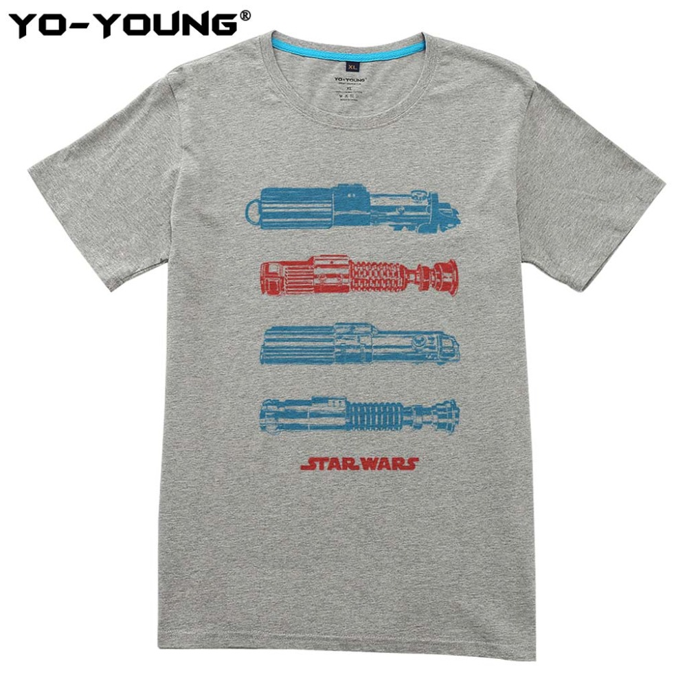 New Star Wars Light Saber Moment Design Men T-shirts Digital Printing 100% 180 gsm Combed Cotton Casual Tops Homme Customized