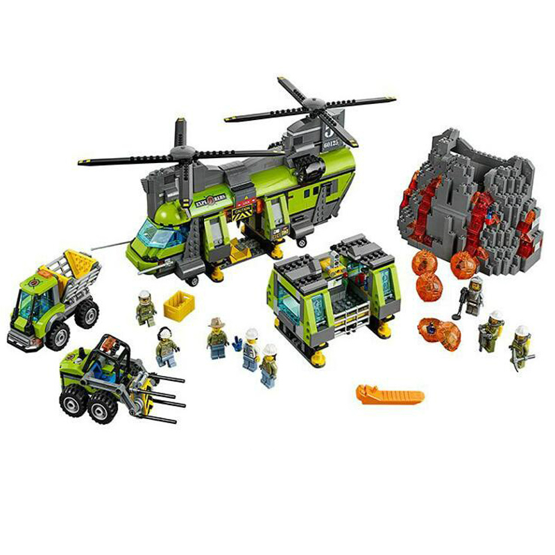 1325pcs 10642 City Legoings Volcano Heavy-lift Helicopter Base Construction Assembly Building Blocks Bricks Toy Compatible 601251325pcs 10642 City Legoings Volcano Heavy-lift Helicopter Base Construction Assembly Building Blocks Bricks Toy Compatible 60125