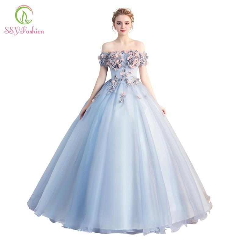 20bb4d17d2 Vestido De Noiva SSYFashion Romantic Flower Fairy Prom Dress Banquet ...
