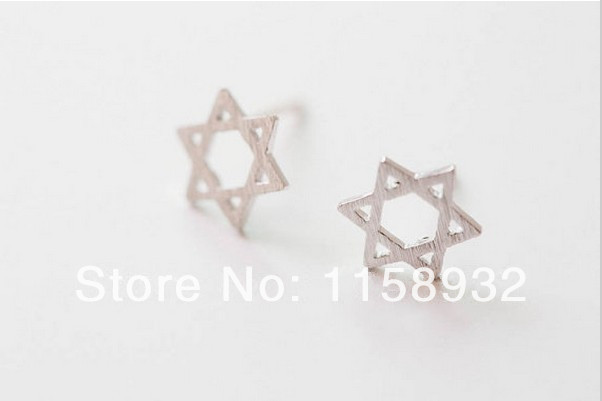 Trendy Star Hollow out Design Hexagonal Geometric Stud Earrings  30PCS/LOT