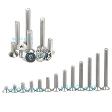 цена 50pcs M5 Stainless Steel Flat Countersunk Head Hexagon Thread Screws Bolts онлайн в 2017 году