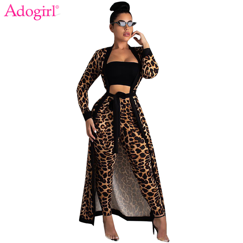 Adogirl Leopard Print Women Two Piece Set Full Sleeve Extra Long Cardigan With Sashes + Pencil Pants Night Coat Suit Outfits