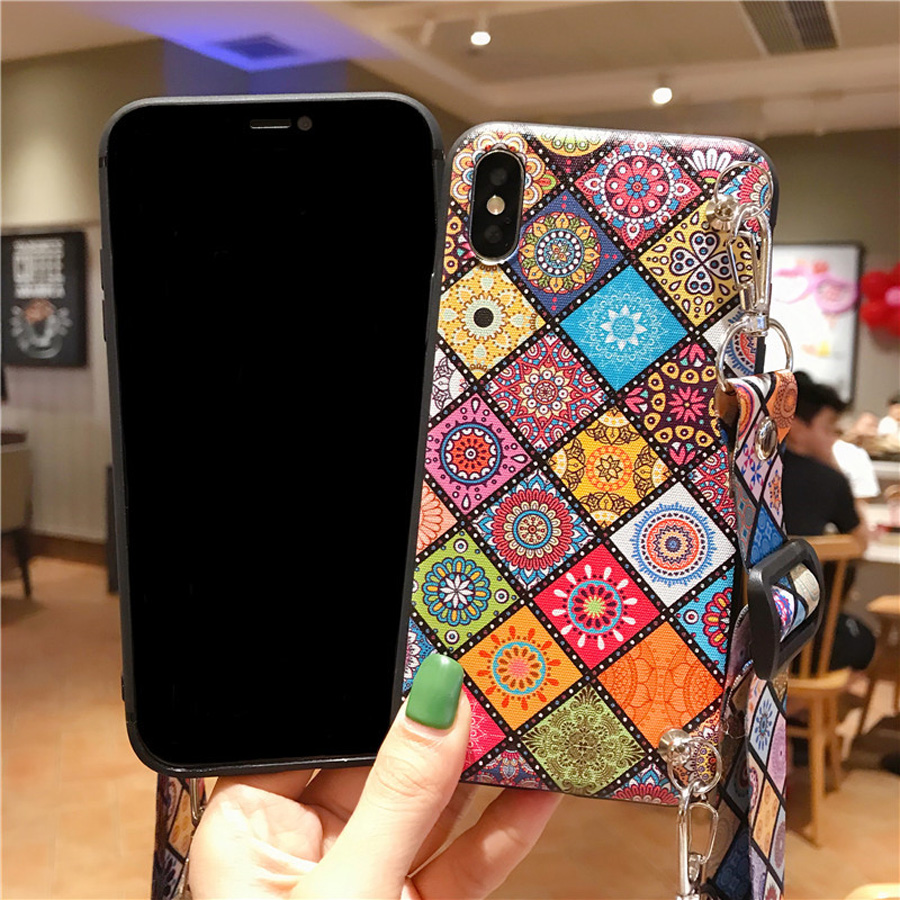 strap tpu case for iphone 7 8 6s 6 plus X XR XS MAX case cover fashion Datura patterned shoulder lanyard soft silicon phone bag in Fitted Cases from Cellphones Telecommunications