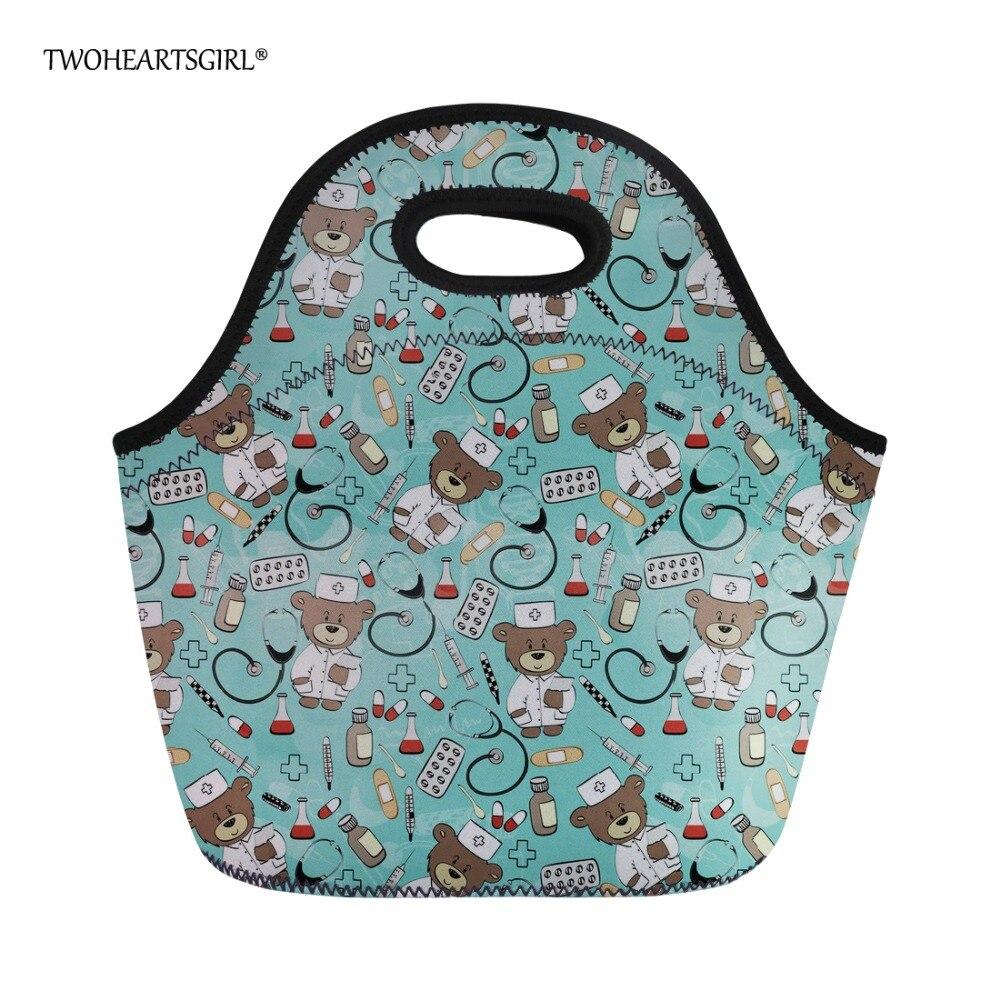 Twoheartsgirl Cooler Lunch Bag Cute Cartoon Bear Print Women Kids Girls Neoprene Lunchbags Thero Children Picnic Food Bags