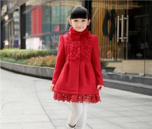 winter new children/'s clothing girls bow lace jacket rabbit cashmere coat