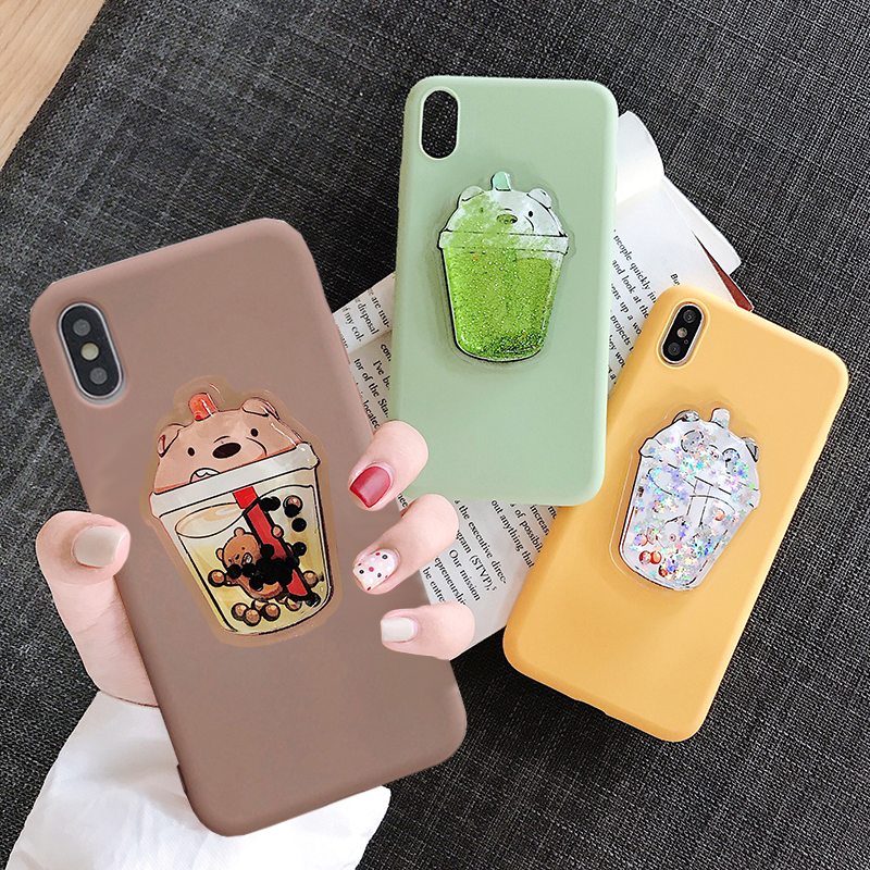 Lovely Drink Cup Case for Samsung Galaxy A3 2017 A5 2018 A6 Plus A7 2019 A8 Plus A80 A9S A90 Cute Squishy Bear TPU Cover image