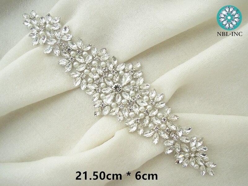 (30 pièces) en gros mariée perlée couture strass perle applique pour robes de mariée ceinture fer bricolage sur WDD0404-in Strass from Maison & Animalerie    2