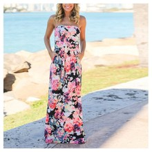 Summer Women Sexy Print Floral Dress Strapless Beach Long Maxi Sundress Bohemian Party Dress bohemian strapless sleeveless floral print women s dress