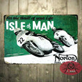 T-Ray Classic NORTON Motorcycle Isle Of Man TT Racing Tin Sign Metal Wall Decor Garage