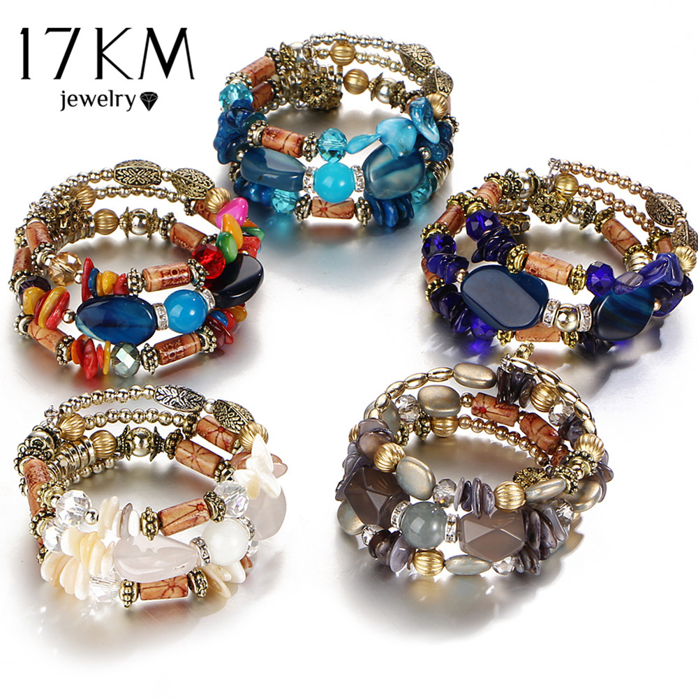 17KM Boho Multilayer Resin Stone Bracelet & Bangles Woman Vintage Long Cuff Bracelets for Women Pulseras Fashion Ethnic Jewelry