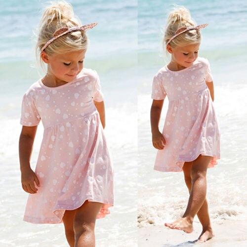 2018 BNWT Toddler Kids Girls Summer Dress Princess Short Sleeve Floral Casual Beach Mini Dresses casual skew collar short sleeve bodycon dress