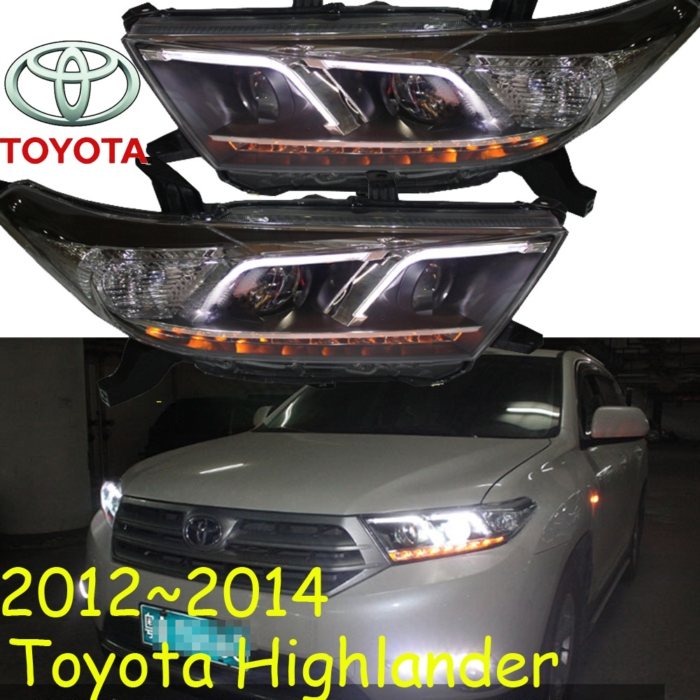 Highlander Headlight,2012~2014,Free Ship! Highlander Fog Light,2ps/set+2pcs Ballast,Highlander Driver Light,Highlander